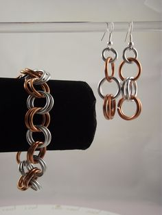 Earring and Bracelet Chainmaille Set- Gold & Silver. $25.00, via Etsy.