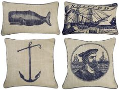 Our new house is white/taupe/blue with a vaguely nautical theme already there. Want to keep with it without going overboard. Cushions are great! Nautical Interior, Nautical Home, Nautical Pillows, Coastal Decor, Nantucket Decor, Nautical Fashion, Throw Pillows, Decor Pillows, Pillow Talk