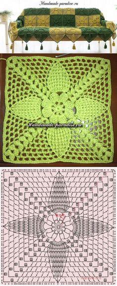 Накидка для дивана квадратными мотивами крючком - Handmade-Paradise