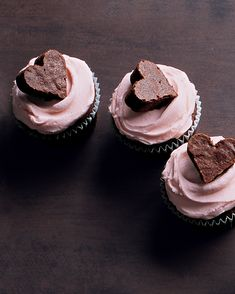 Valentine's Day Desserts: Brownie Heart Cupcakes