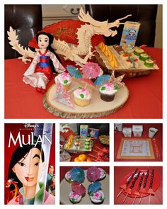 """Disney Dinner and a Movie Night Mulan Party. We had; sweet and sour chicken or cashew chicken, rice, crab rangoon, Mulan's fruit swords and mandarin oranges that represent good luck. To drink; matchmakers tea. For dessert; a cupcake w/ a cherry tree blossom """"The flower that blooms in adversity is the most beautiful"""" and Mulan's parasol. Snack during the movie was dessert sushi, fortune cookies or Chinese cookies. My son made the awesome 3D dragon puzzle and origami for display."""