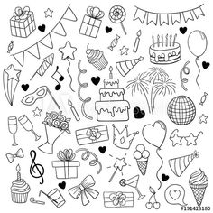 Happy Birthday Doodles, Happy Birthday Mother, Happy Birthday Signs, Birthday Cartoon, Birthday Clipart, Cool Doodles, Simple Doodles, Doodle Art, Banner Doodle