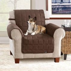 Soft Suede Chocolate Waterproof Chair Protector - Overstock™ Shopping - Big Discounts on Sure Fit Chair Slipcovers Armchair Slipcover, Slipcovers For Chairs, Recliner Chairs, Recliner Cover, Chair Cushions, Furniture Covers, Sofa Furniture, Furniture Design, Brown Leather Recliner Chair