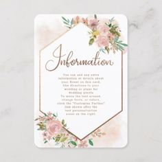 Alluring Rose Vintage Floral Wedding Information Enclosure Card - summer gifts season diy template ideas Invitation Card Design, Floral Invitation, Custom Invitations, Invitation Cards, Rose Wedding, Floral Wedding, Summer Wedding, Rustic Wedding, Rose Vintage