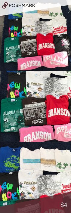 TRAVEL T-SHIRTS Travel t-shirts from all different places!!! Missouri, Washington, New Orleans, Mexico, Alaska. $5 for one or $7 for two. The sizes vary but I believe they are all mediums or larges. Ask questions to get details! PLEASE DO NOT BUY THIS LISTING. Tops Tees - Short Sleeve
