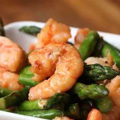 Shrimp And Asparagus Stir-Fry (Under 300 Calories) Servings: 4 Calories per serving - 282.75  Inspired by - http://homecookingmemories.com  INGREDIENTS 4 tablespoons olive oil - 477 calories 1 pound raw shrimp - 539 calories 1 pound asparagus - 91 calories 1 teaspoons salt - 0 calories ½ teaspoon crushed red pepper - 3 calories 1 teaspoon garlic, minced - 4 calories 1 teaspoon ginger, minced - 2 calories 1 tablespoon low sodium soy sauce - 8 calories 2 tablespoons lemon juice - 7 calories…