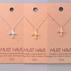 "Silver, Gold and Rose Gold Airplane Necklace 16"" 16"" silver, gold and rose gold necklaces, each sold separately. Perfect for those who love travel Jewelry Necklaces"