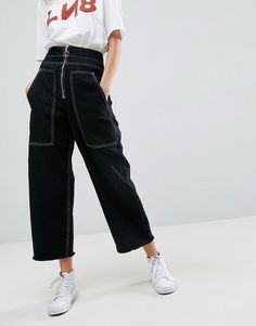 ASOS Wide Leg Utility Jeans With Big Pockets and Contract Stitch In Bl