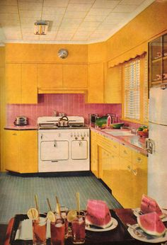 Bright and sunny yellow retro kitchen reminds me of summer. Click the image to learn how to give your kitchen a mid century makeover!  http://www.retrorealtygroup.com #retrokitchen
