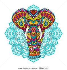 Illustration of Decorative elephant illustration. Indian theme with ornaments. vector art, clipart and stock vectors. Mandala Book, Mandala Artwork, Adult Coloring, Coloring Books, Indiana, Feather Flags, Indian Theme, Elephant Illustration, Elephant Theme