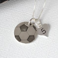 Hand Stamped Soccer Ball Necklace for Mom or by DesignMeJewelry
