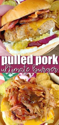 Pulled Pork Burger | Foodtastic Mom #ad #ohpork #pulledporkburger #burgerrecipes #porkrecipes via @foodtasticmom Recipes Using Pork Chops, Pork Recipes For Dinner, Pulled Pork Burger, Pork Burgers, Pork Tacos, Healthy Sandwich Recipes, Burger Recipes, Bacon Recipes, Tailgating Recipes