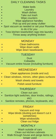 Weekly cleaning schedule to keep your home clean and tidy. Time for spring cleaning. Easy cleaning routine that works. Weekly cleaning schedule to keep your home clean and tidy. Time for spring cleaning. Easy cleaning routine that works.