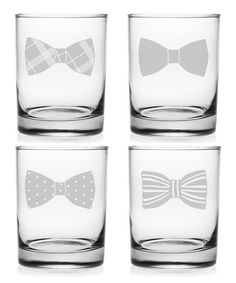 Groomsmen gift idea  Loving this Bow Ties Rocks Glass - Set of Four on #zulily! #zulilyfinds