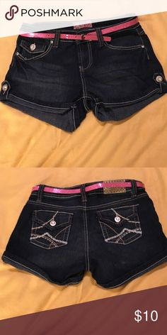 YMI Jean Shorts with pink glitter belt Lightly used. Sz 14 girls. Dark denim with silver buttons with gem in the middle. YMI Bottoms Shorts
