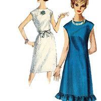 1960s Mod A-Line Dress w/ Ruffled Hem Vintage Sewing Pattern Simplicity 5534 Jewel Neckline Size 14/Bust 33 Mad Men Style Cap Sleeves Sheath