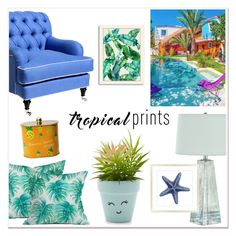 """""""Tropical Prints"""" by katrinaalice ❤ liked on Polyvore featuring interior, interiors, interior design, home, home decor, interior decorating, New Look, Barclay Butera, DENY Designs and Americanflat"""
