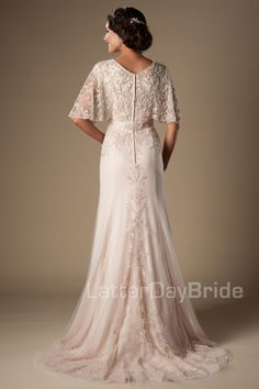 This fabulous modest wedding dress features a v-neckline, fully beaded flutter sleeves, a flattering waistline and a delicate sheath silhouette. Gown on sale in size View our Return Policy. Western Wedding Dresses, Modest Wedding Dresses, Bridal Dresses, Wedding Gowns, Bridesmaid Dresses, Wedding Venues, Inexpensive Wedding Dresses, Wedding Shot, Wedding Dress Older Bride