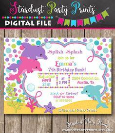 Dolphin+Birthday+Invitation+Dolphin+by+StardustPartyPrints+on+Etsy