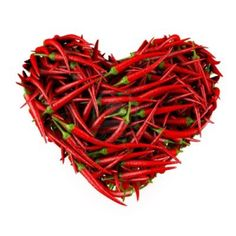 Heart made of Chili Pepper  Isolated on a white  3D High-quality rendering Stock Photo - 12963549