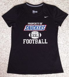 Women(Med) PROPERTY OF SNICKERS FOOTBALL T-SHIRT TOP Black NIKE Dri-Fit Slim-Fit #Nike #GraphicTee