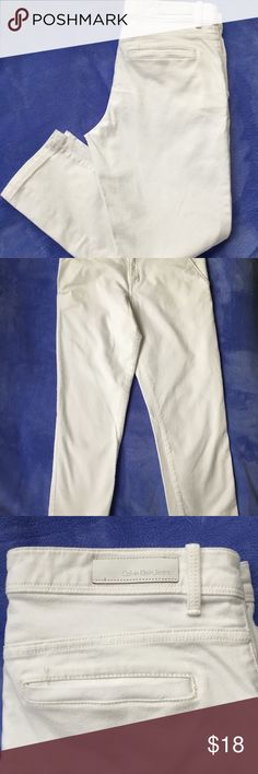 Calvin Klein Jeans white jeans Calvin Klein jeans women's white jeans. These jeans are brand new, have never been worn, and are in excellent condition. The width is 30 inches and the length is ankle length. These are skinny jeans. They are very soft, comfortable, and are very beautiful! Calvin Klein Jeans Pants Ankle & Cropped