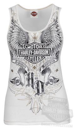 Harley-Davidson® Womens Midnight Strike Winged B&S with Specialty Ink White Sleeveless Tank