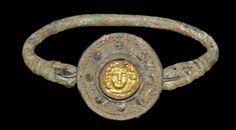 Greek Bronze Bracelet with Gold Head of Apollo Inlay, 5th/3rd century B.C.
