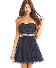 4cc8954d6 City Studios Juniors Strapless Lace A-Line Dress Juniors - Dresses - Macy s