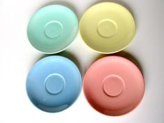 4 LuRay Saucers Mid Century 1940's Pastels by BlueMoonAttic