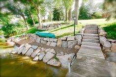 shoreline landscape - Google Search Pond Landscaping, Landscaping Retaining Walls, Lake Dock, Boat Dock, Beach Landscape, House Landscape, Cottage Exterior, Lakeside Living, Lake House Plans