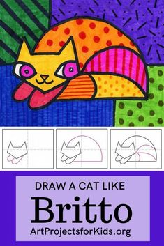 Draw a Romero Britto Cat · Art Projects for Kids