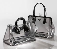 Prada clear bags, cool idea, but I don't really want random folks sketchin on my… - Women's Handbags Bag Prada, Prada Handbags, Fashion Handbags, Purses And Handbags, Fashion Bags, Fashion Accessories, Tote Bags, Transparent Bag, Clear Bags