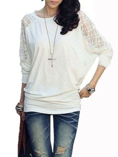 Sexy Women Bat Sleeve Patchwork Lace Loose T-shirt