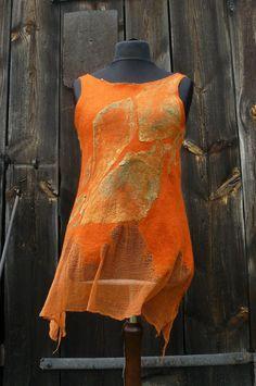 hand  felted  orange tunic by PrzystanekRekodzielo on Etsy, zł250.00
