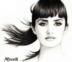Pencil Drawing of actress Penelope Cruz