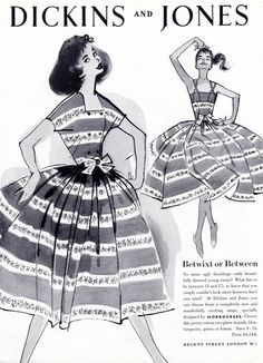 1957 Dickins and Jones advertisement - dresses by Horrockses. I remember the dresses--not the ad. 50s Glamour, Vintage Glamour, Vintage Ads, Vintage Style, Fifties Fashion, Retro Fashion, Vintage Fashion, Womens Fashion, Vintage Dresses 50s