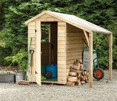 Pressure Treated Overlap 6 x 4 Apex Shed with Lean To from Forest Garden Products - GardenSite.co.uk