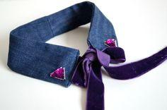 Jeans Peter Pan Collar / Purple by ElleenAccessories on Etsy