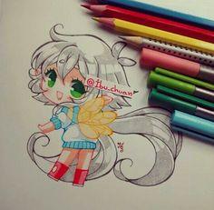 @ibu_chuan (instagram) Kawaii Chibi, Cute Chibi, Kawaii Anime Girl, Kawaii Art, Anime Art Girl, Kawaii Drawings, Cartoon Drawings, Cute Drawings, Marker Kunst