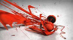 headphones red white orange headset splashes splash cool #QE0v