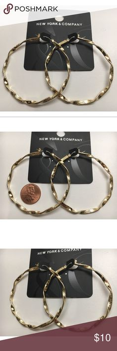 """New! New York & Company Gold Tone Hoop Earrings These are wonderful gold tone hoop earrings by New York & Co! They measure 2 1/4"""" in diameter and are made of gold tone mixed metal. NEW with tags. New York & Company Jewelry Earrings"""