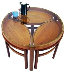 You missed it! now sold - Stunning Nathan glass coffee table with three teak occasional tables, that neatly store in an unusual and innovative design from our collection at www.resourcevintage.co.uk