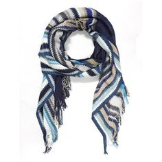 Classic Knitted Stripe Scarf Missoni Liberty ($120) ❤ liked on Polyvore featuring accessories, scarves, missoni, missoni shawl, missoni scarves, striped scarves and striped shawl