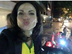 Lana Parrilla in front of her hotel with fans #EverAfter