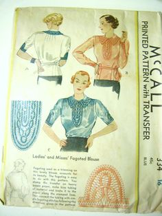 1930's McCall's Pattern Ladies Fagoted Blouse. $25.00, via Etsy.