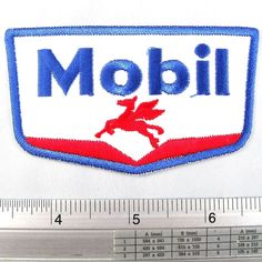 Mobil 1 Pegasus petroleum Lubricant Fuel Oil Gas Station Logo Badge Embroidered Iron on Patch DIY T-shirt 2x3.25' * Visit the image link more details.