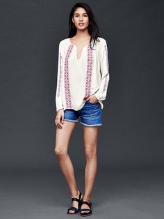 Long sleeve embroidered peasant blouse Product Image