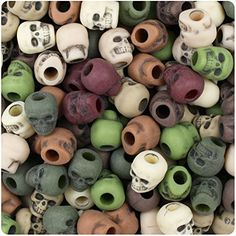 BEADTIN Camouflage Mix Antique 11mm Skull Pony Beads 150pc -- For more information, visit image link. (This is an affiliate link) #BeadingJewelryMaking
