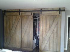 Custom made barn style bypass closest doors. #CaliCustomCarpentry
